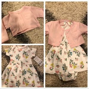 Baby girl dress and cardigan, sz NB 👶🏻🎀